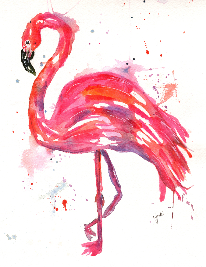 pink flamingo watercolor1
