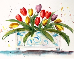 Jodi's watercolor-Tulips